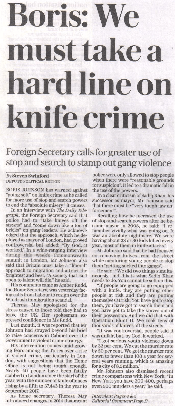 Telegraph article on knife crime